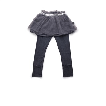 Baby Tulle Legging Skirt Dyed Grey