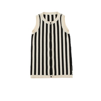 Stripes Knit Long Vest Beige / Black
