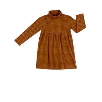Grid Turtle Neck Dress Brown / Black