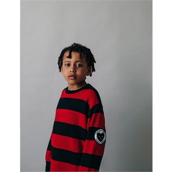 Knit Oversized Sweater Stripes Black Red