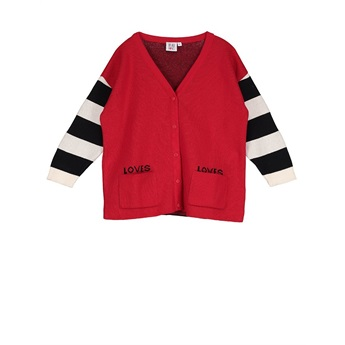 Knit Oversized Cardigan Loves Stripes Red