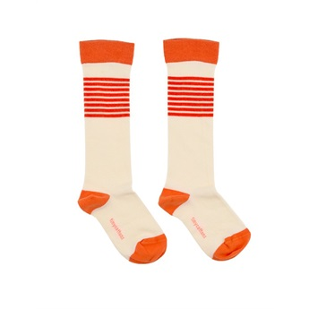 Stripes High Socks Off-White/Carmine