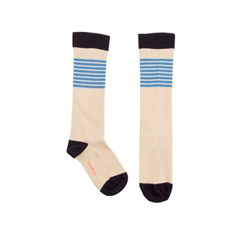 Stripes High Socks Stone/Cerulean Blue