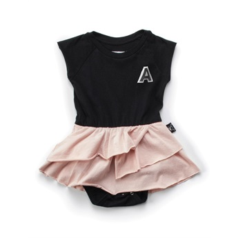 Baby 1/2 & 1/2 Onesie Skirt Black/Powder Pink