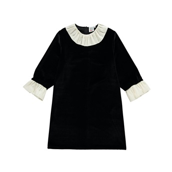 Velvet Frill Neck Dress Black