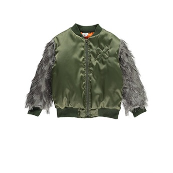 Bomber Fringed Sleeves Green