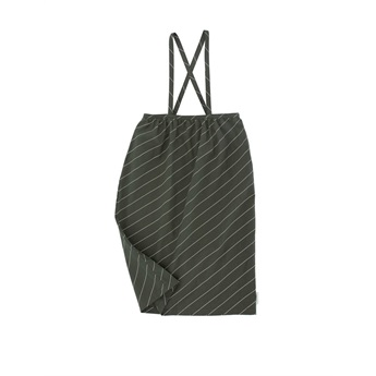 Diagonal Stripes Braces long skirt  dark green/pistacho