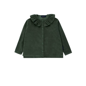 Solid Frilled Collar blouse dark green