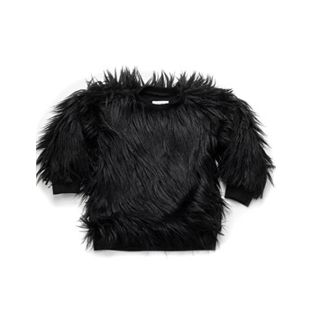 Faux Fur Sweatshirt Black
