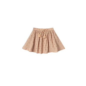 Cross Embroidered Mini Skirt Blush
