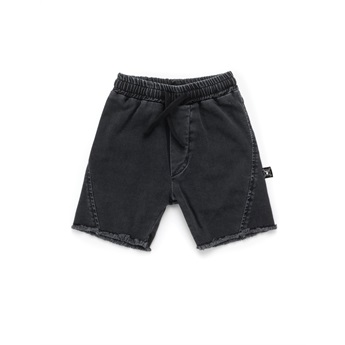 Side Hem Denim Shorts Washed Black