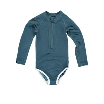 UPF50+ Ocean Ribbed Blue Swimsuit