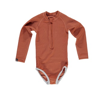 UPF50+ Ocean Ribbed Rust Red Swimsuit