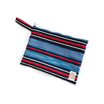 Waterproof Bag Stripes Blue Metallic Medium