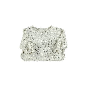 Baby T-Shirt Ecru With Black Dots