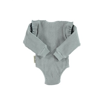 Baby Ribbed Body With Frills Grey