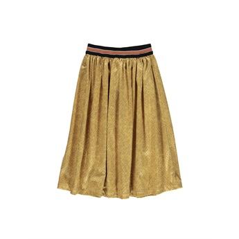 Pleated Long Skirt Perforated Mustard Leather