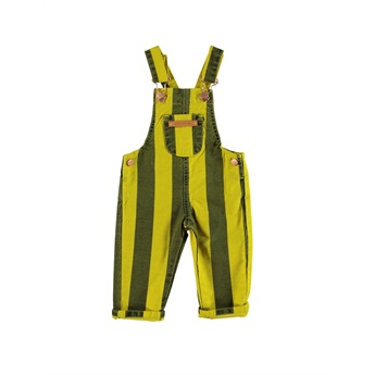 Baby Dungarees Mustard Grey Stripes