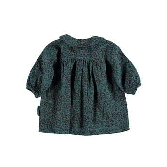 Baby Dress Peter Pan Emerald Animal Print
