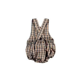 Baby Romper Coral & Grey Checkered