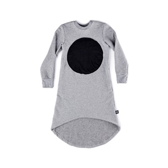 Circle Patch Fluffy Dress Grey