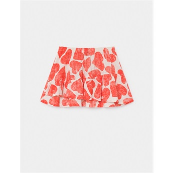 All Over Hearts Ruffles Skirt