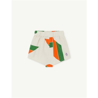 Clam Shorts White Geometric