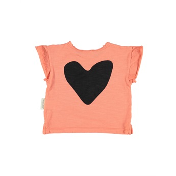 Baby T-Shirt Coral With Black Print