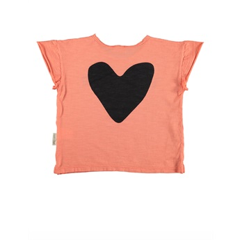 T-Shirt Coral With Black Print