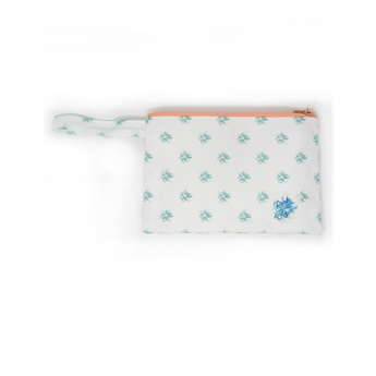 Pouch Small Aqua Flower