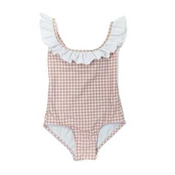 Nude Gingham One Piece Ruffle