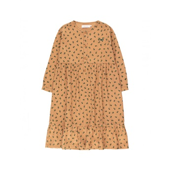 Tiny Flowers Dress Light Brown / Dark Green
