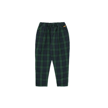 Check Pleated Pants Dark Green / Navy
