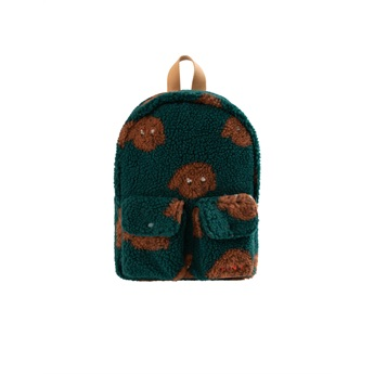 Tiny Dog Small Sherpa Backpack Dark Green / Sienna