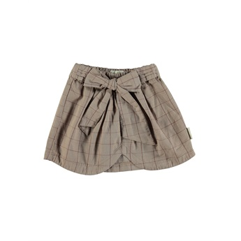 Short Skirt With Bow / Taupe & Garnet
