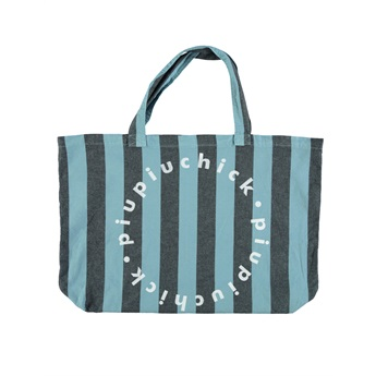 Extra Large Logo Bag Blue Grey Stripes