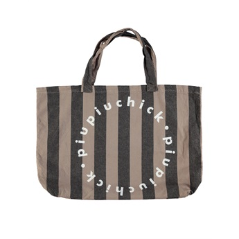 Extra Large Logo Bag Taupe Grey Stripes