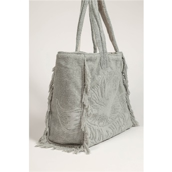 Terry Tote Beach Bag - Just Silver