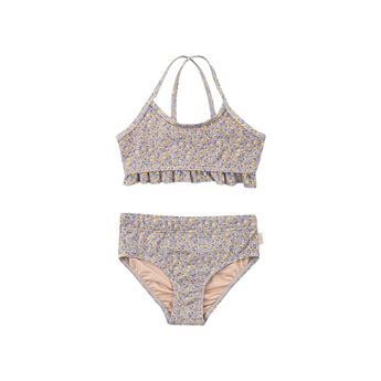 Small Flowers Swim Set Grey / Yellow